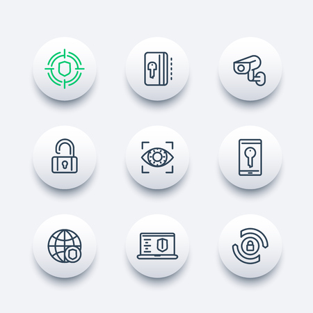 ssl: Security and protection line icons set, secure network, key card, privacy, biometric recognition system, cctv camera, firewall
