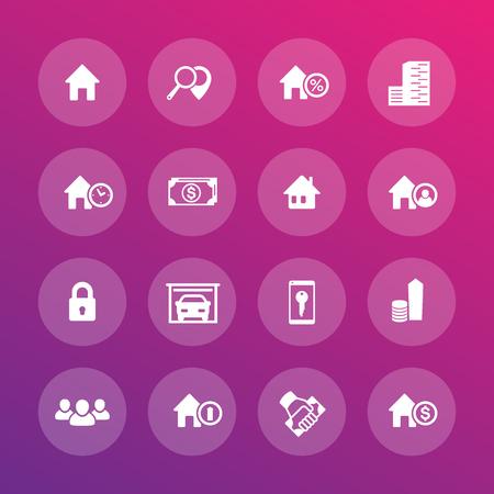 hospedaje: Iconos de las propiedades inmobiliarias, apartamentos, casas de alquiler, alojamiento, reserva Vectores