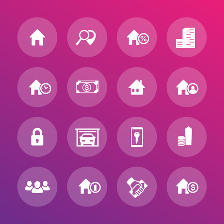 occupant: Real estate icons set, apartments, houses for rent, lodging, booking Illustration