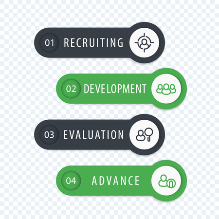 employee development: Staff, HR, employee development 1, 2, 3, 4 steps, infographics elements with line icons, labels and banners in gray and green
