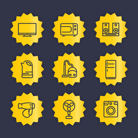 consumer electronics: Appliances line icons set, household consumer electronics vector pictograms, tv, microwave oven, audio system, kettle, vacuum cleaner, fridge, hairdryer, fan, washing machine Illustration