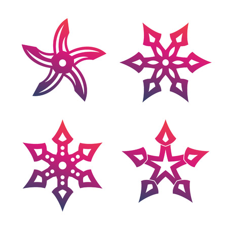 throwing: ninja throwing stars, shurikens isolated over white