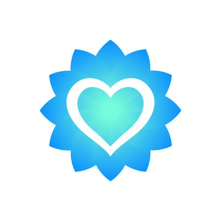 Contour de coeur avec forme de fleur, élément du logo sur blanc Banque d'images - 71352159