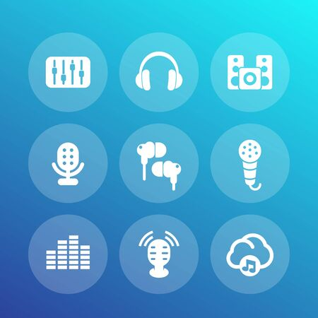 earbuds: audio icons set, equalizer, sound mixing console, earbuds, headphones, microphones, speakers