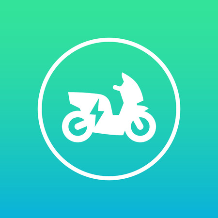 electric scooter icon in circle, vector illustration