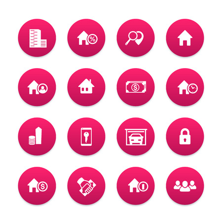 occupant: Real estate icons set, house sale, apartments, houses for rent, garage, building, renting Illustration