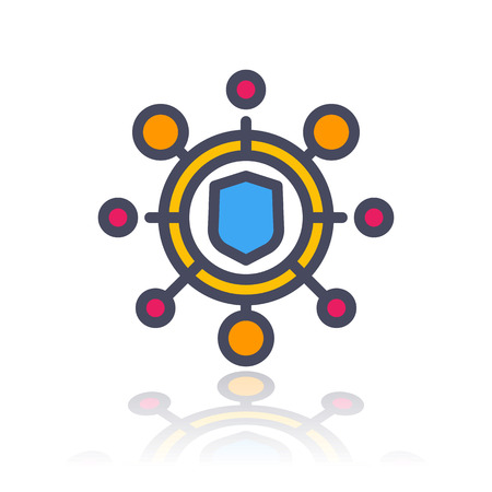 ddos: cyber attack icon in flat style with outline over white, vector illustration