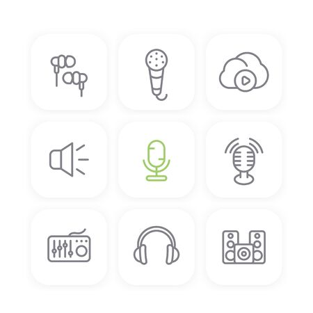 earbuds: audio line icons set, sound mixer, microphones, earbuds, headphones, speakers, music in cloud, vector illustration Illustration