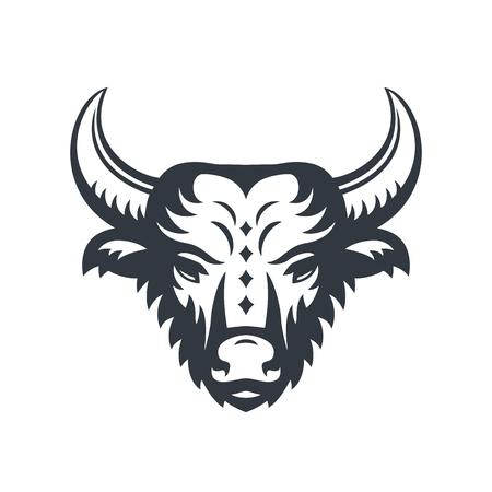 buffalo head logo element isolated over white Ilustrace