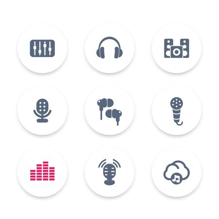 earbuds: audio icons, equalizer, sound mixing console, earbuds, headphones, music in cloud, microphones