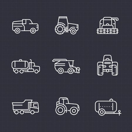 harvester: Agricultural machinery line icons set, tractor, truck, pickup, harvester, combine, agrimotor, vector illustration