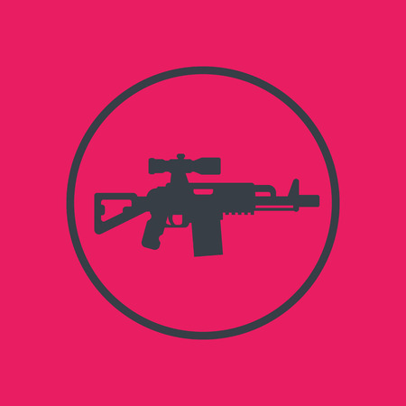 assault rifle icon in circle, gun, firearm with optical sight Illustration