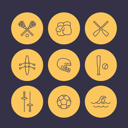lax: sports and games line icons set, rowing, boxing, fencing, lacrosse, football vector symbols