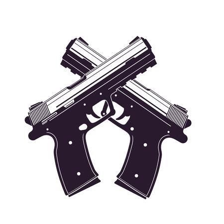modern pistols, two crossed handguns isolated over white