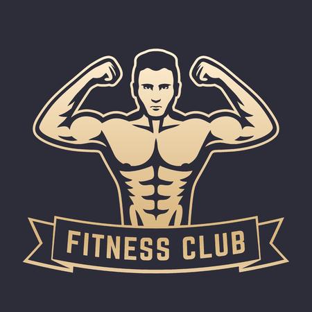 bicep curls: Posing athlete, strong bodybuilder, man showing his biceps, fitness club logo, emblem, gold on dark