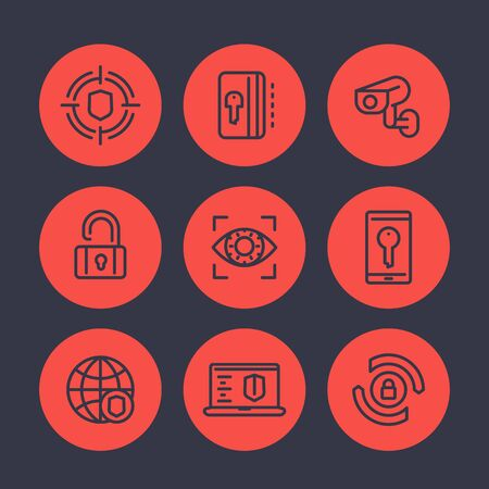 ddos: Security and protection line icons set, secure network, key card, lock, shield, cctv camera, firewall Illustration