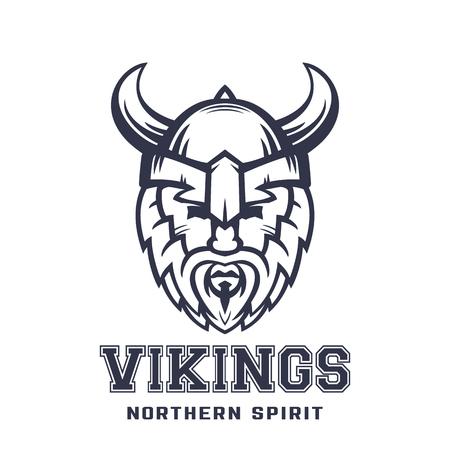 Vikingos logotipo, guerrero barbudo en el casco con cuernos sobre blanco