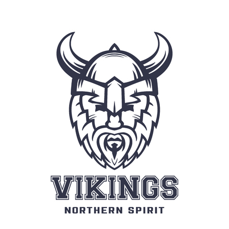 Vikings logo, bearded warrior in helmet with horns over white