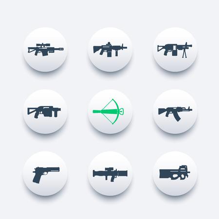 weapons, firearms icons set, sniper and assault rifles, machine gun, pistol, rocket launcher, crossbow, handguns, vector illustration