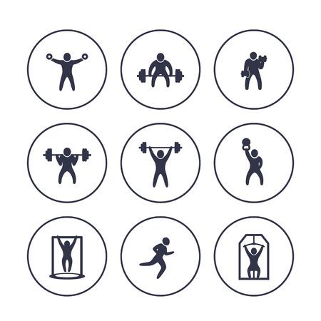 De gymnastiek, fitness oefent pictogrammen in cirkels over wit, training, opleiding, het bodybuilding, gewichtheffen, vectorillustratie uit