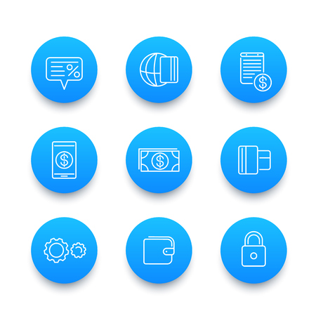 Payment methods line icons set, mobile electronic paying, money, credit card, wallet, cash