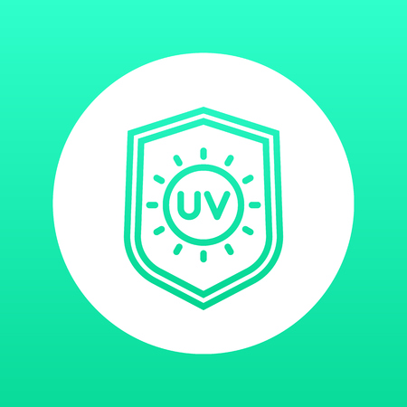 UV protection line icon, symbol over white