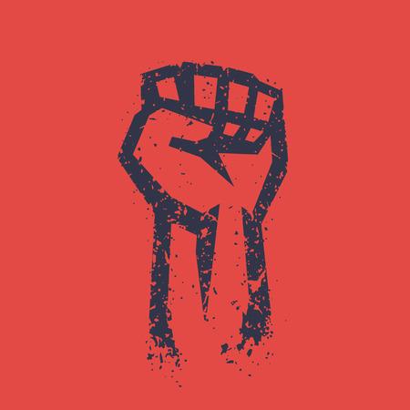 Fist held high in protest, grunge outline, raised hand, revolt symbol