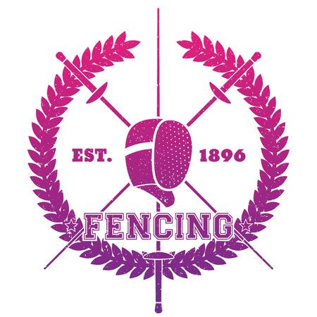 Fencing emblem, logo with crossed foils and fencing mask over white, vector illustration