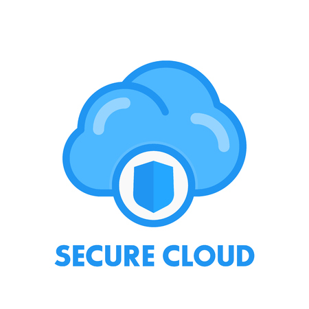 secure cloud icon in flat style isolated on white