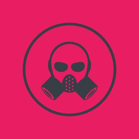 gas mask, respirator icon in circle, vector illustration