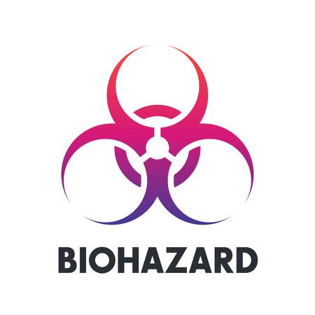 biohazard symbol over white