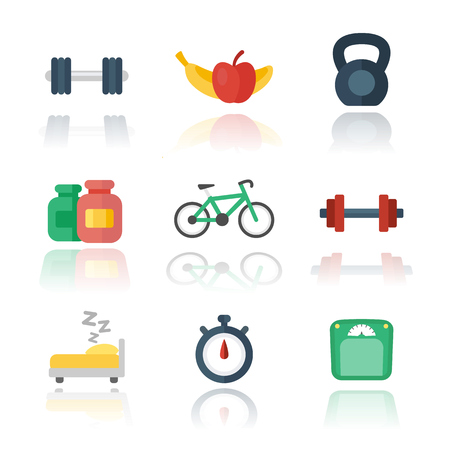 Fitness, gym flat icons over white, vector illustration