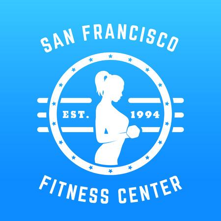 bicep curls: Round vintage emblem for gym, logo, t-shirt print with fit girl, white on blue, vector illustration Illustration