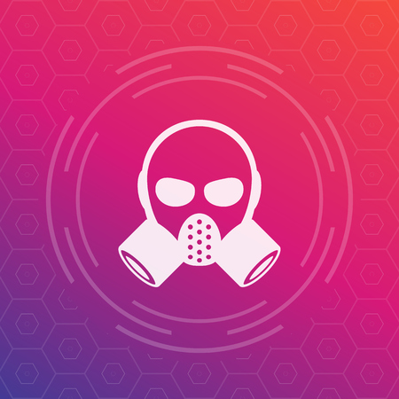 over lab: gas mask vector sign, icon