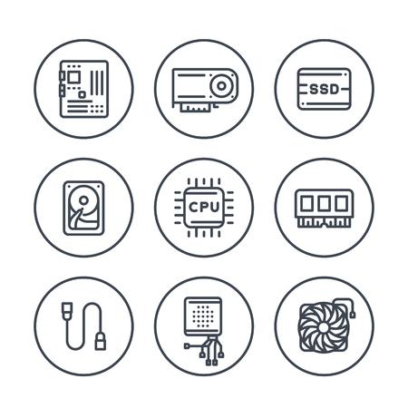 composants de l'ordinateur lignes icônes en cercle sur blanc, processeur, carte mère, RAM, carte vidéo, disque dur, SSD, refroidisseur Vecteurs