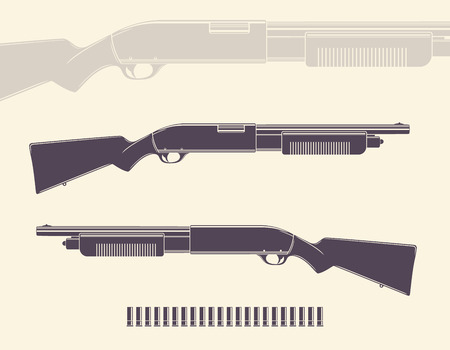 Shotgun, hunting rifle with shells and silhouette Illustration