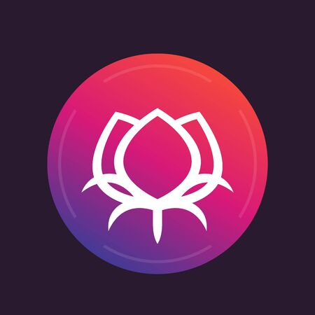 boll: cotton flower icon, round pictogram