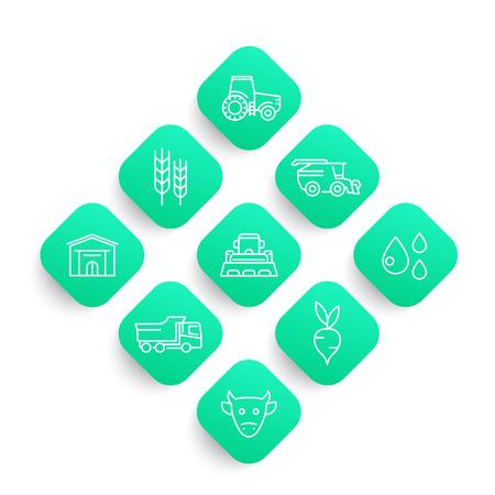Agriculture, farming line icons set, tractor, agrimotor, harvest, cattle, storage, harvester