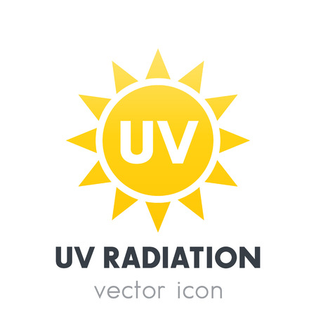 UV radiation icon over white