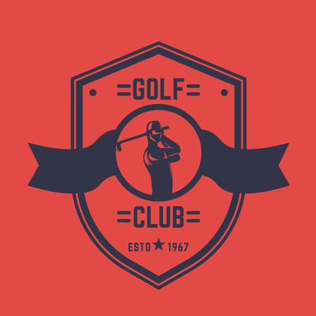 golfer swinging: Golf club vintage logo, emblem with golfer swinging club