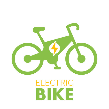 Electric bike icon, logo element, green eco-friendly transport, bicycle with electric engine on white
