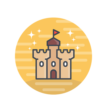 citadel: castle, medieval fortress icon with outline over white Illustration