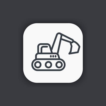 construction vehicle: excavator line icon, construction vehicle symbol