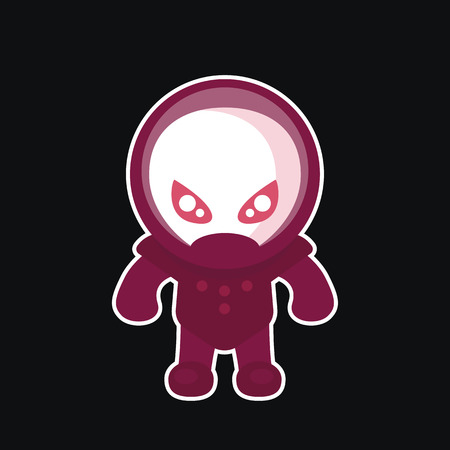alien in space suit, sticker in flat style on dark, vector illustration Illustration