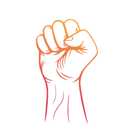 fist held high in air outline, revolt, protest sign over white