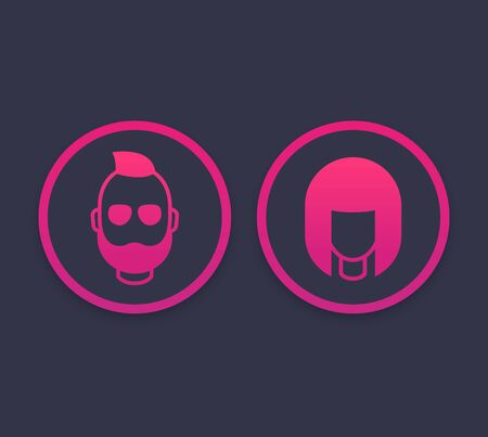 Avatars icons with girl and bearded man, vector illustration Illustration