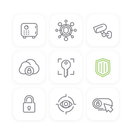 unprotected: Security line icons set, secure cloud, key, lock, shield, strongbox, video surveillance, online security, safety