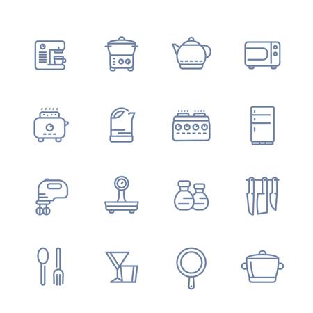 Set Di Icone Di Cucina Set Isolato Su Bianco, Oggetti Di Cottura ...