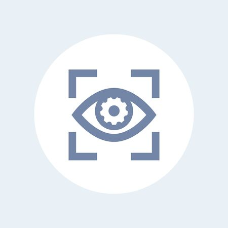 eye with gear icon isolated on white, retina scanning, biometric recognition symbol Ilustração
