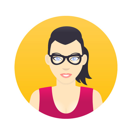 Avatar icon, cartoon girl in glasses in flat style
